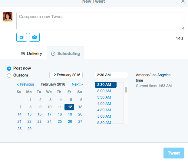 Screen grab from Twitter scheduling