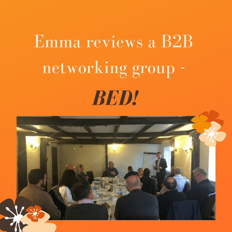 Emma reviews a business forum styled B2B networking group - BED