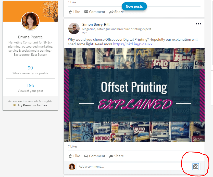 Linkedin images in comments