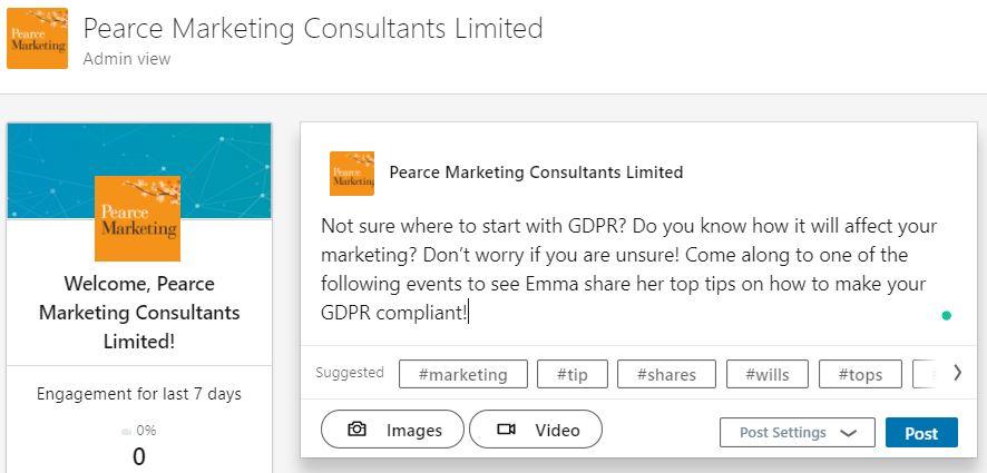 Hashtags on LinkedIn Pearce Marketing, East Sussex