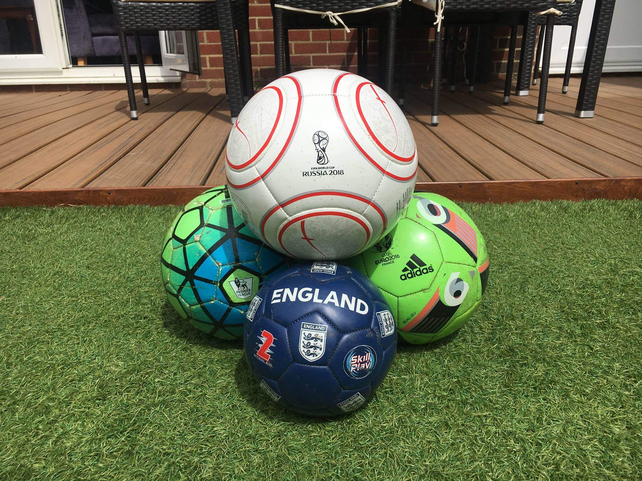 England footballs at Pearce Marketing Consultants office