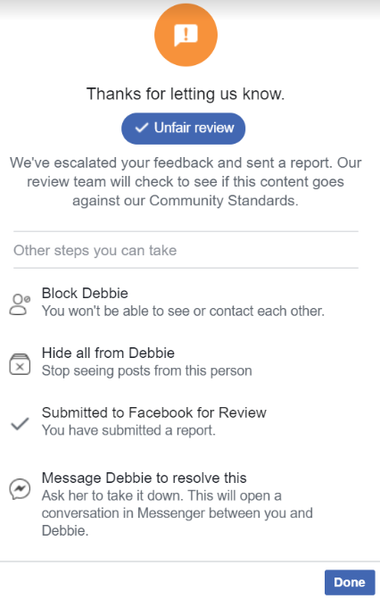 Screenshot about how to manage bad reviews on Facebook