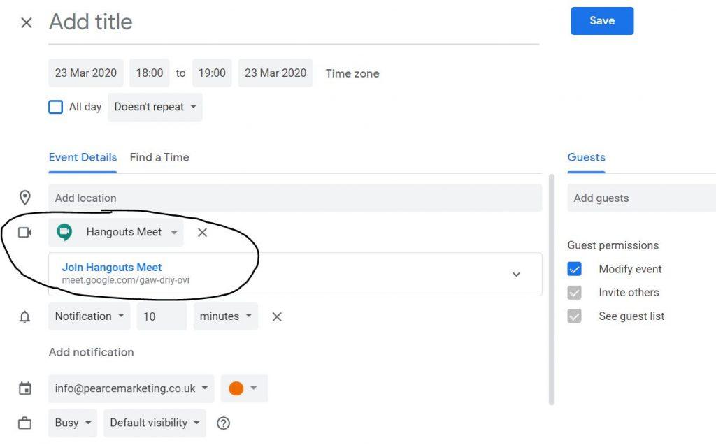 Google Hangouts Meet diary invitation